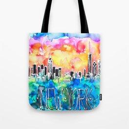 New York / watercolor mixed media bright city skyline modern skyscraper Tote Bag