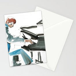 Pianist Musician Expressive Drawing Stationery Cards