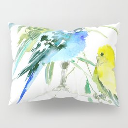 Parakeets green yellow blue bird decor Pillow Sham
