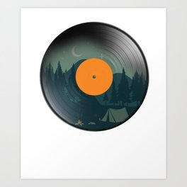 Vinyl Nature Camping Retro Phonograph Record Classic Music Lovers Gift Art Print