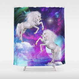 space unicorns v Shower Curtain
