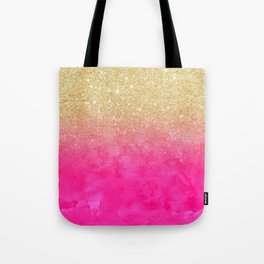 Modern girly gold glitter ombre fade neon pink watercolor Tote Bag