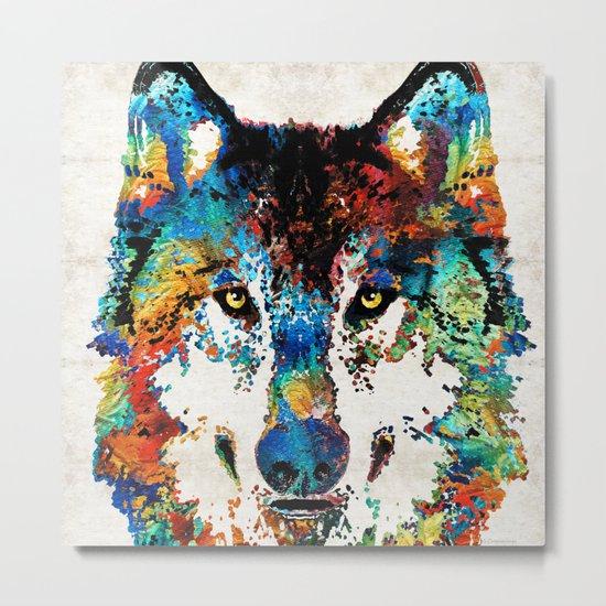Wolf Art Print - Hungry - By Sharon Cummings Metal Print