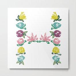 Floral H Monogram Metal Print
