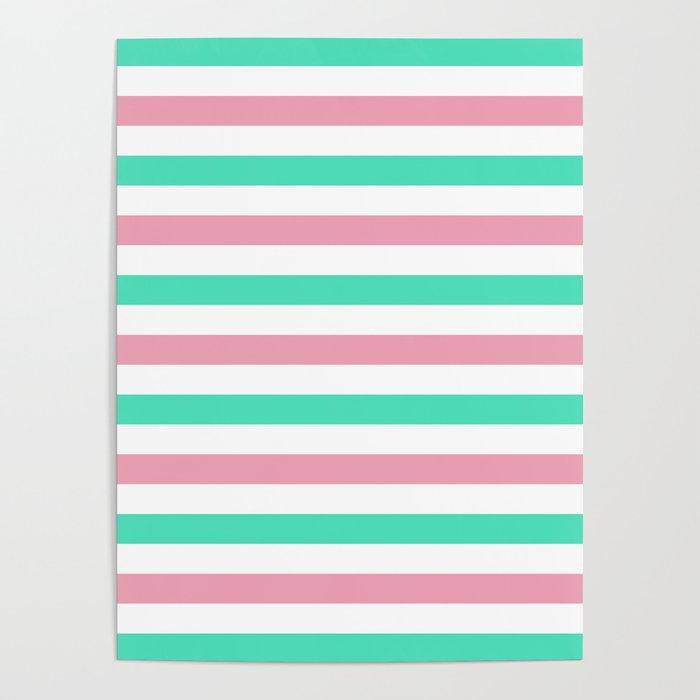Menthol green, gray and white horizontal stripes Poster
