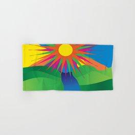 Psychedelic Sun Neon Mountain River Lands Hand & Bath Towel