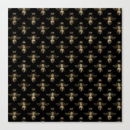 Black & Gold Queen Bee Pattern Canvas Print