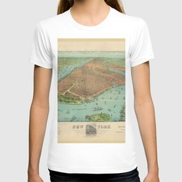 Vintage New York City Panoramic Print - Manhattan, 1879 T-shirt