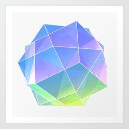 polyhedra - blue Art Print