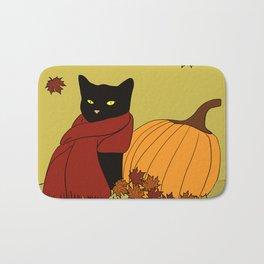 Cascade The Black Cat In Red Scarf With Pumpkin - Fall Bath Mat