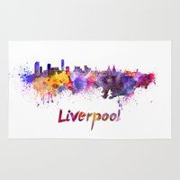 liverpool Area & Throw Rugs featuring Liverpool skyline in watercolor by Paulrommer