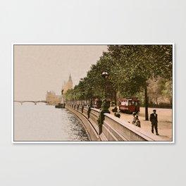 Vintage The Embankment, River Thames, London Canvas Print