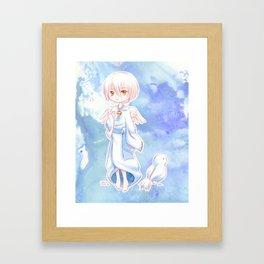 Sweet Angel Bird Anime Boy Framed Art Print
