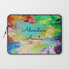 ADVENTURE AWAITS Wanderlust Typography Explore Summer Nature Rainbow Abstract Fine Art Painting Laptop Sleeve