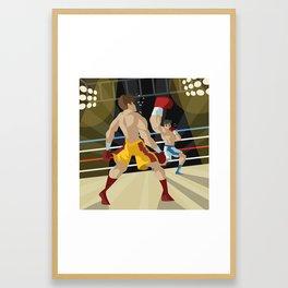boxer performing an uppercut punch on opponent Framed Art Print