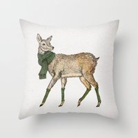 deer Throw Pillows featuring Deer by David Fleck