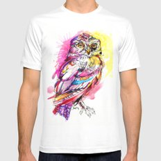 Neon Northern Pygmy Owl MEDIUM White Mens Fitted Tee