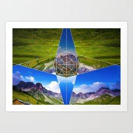 Modern Geometry With Grass Art Print