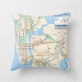 New York City Metro Subway Map Throw Pillow