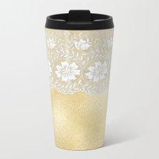 Bridal lace - White floral elegant lace on gold metal backround Metal Travel Mug