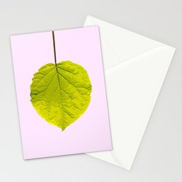 Bright Green Leaf On A Pink Background #society6 #buyart Stationery Cards