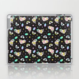 Silkie Guinea Pigs Kawaii Unicorn Pattern in Black Laptop & iPad Skin