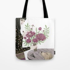 Girl, her Dog and bouquet of Flowers Tote Bag