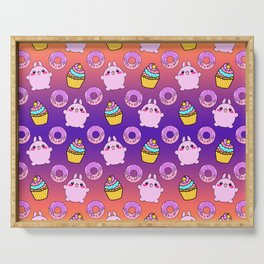 Cute funny Kawaii chibi little pink baby bunnies, happy sweet donuts and adorable colorful yummy cupcakes sunny orange purple seamless pattern design. Serving Tray
