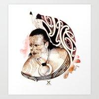 maori Art Prints featuring Toa Maori by iata