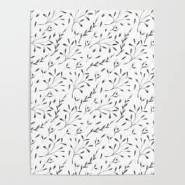 Modern black gray hand painted watercolor floral leaves Poster