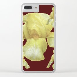PALE YELLOW IRIS ON BURGUNDY COLOR Clear iPhone Case