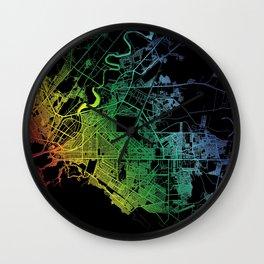 Torreón, Coahuila, Mexico, City, Map, Rainbow, Map, Art, Print Wall Clock