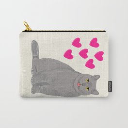 Purrfect grey cat cute kitten valentine gift for cat lady love kids art heart valentines day pets Carry-All Pouch