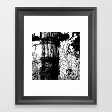 Barbed Wire Fence Post B/W Framed Art Print