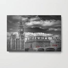 LONDON Big Ben & Red Bus Metal Print