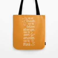 winnie the pooh Tote Bags featuring Winnie the Pooh by Nikita Gill