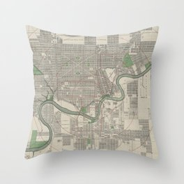 Vintage Map of Edmonton Canada (1912) Throw Pillow