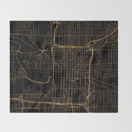 Black and gold Indianapolis map Throw Blanket