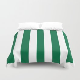 Cadmium green - solid color - white vertical lines pattern Duvet Cover