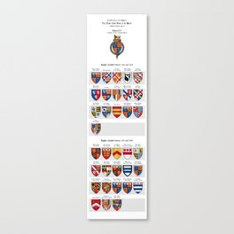 KING EDWARD IV - Roll of arms of the Knights of the Garter installed during his reign Canvas Print