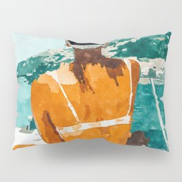 Solo Traveler, Watercolor Black Woman Painting, Travel Tropical Summer Illustration Pillow Sham