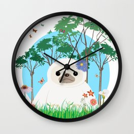 Super cute white two toed Sloth Wall Clock