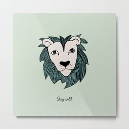 Stay wild you little lion baby nursery mint green illustration Metal Print