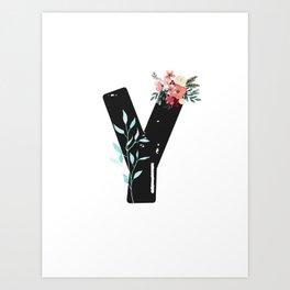Letter Y - Botanical English Alphabet, Name Initial Art Print