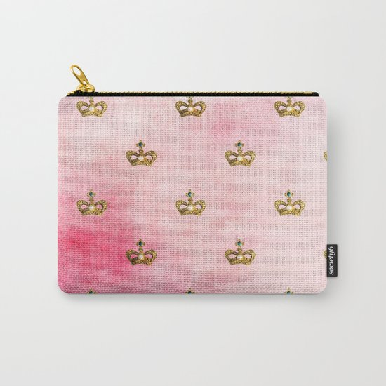 Royal Heraldy Gold crowns on pink watercolor background on #Society6 Carry-All Pouch