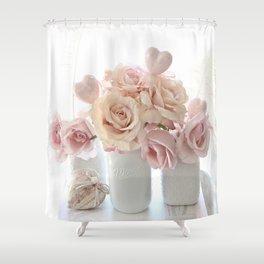 Shabby Chic Peach Pink White Pastel Roses White Vases Shower Curtain