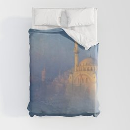 Constantinople (Istanbul) Süleymaniye Mosque in Fog by Ivan Aivazovsky Duvet Cover