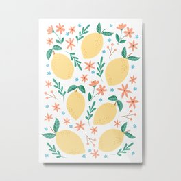Summer Lemons with Pink Blossoms Metal Print