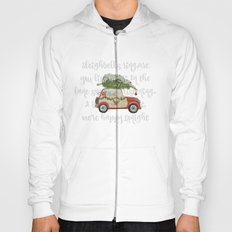 Vintage Christmas car with tree red Hoody