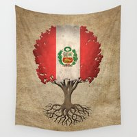 peru Wall Tapestries featuring Vintage Tree of Life with Flag of Peru by Jeff Bartels